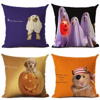New European Style Serie Halloween Cuscino per cani Show Throw Pillow Halloween Pumpkin Faces Car Sofa Bedroom Decorazioni per la casa
