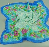 Wholesale Chiffon Kerchiefs - Fashion Elegant Profession Kerchief For Women Girl 70 *70 CM Long Size Chiffon Printed Scarves Mix Colors