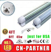 4ft led röhre licht transparente abdeckung großhandel-50 * auf lager getestet Led T8 Röhrenleuchten Integriert 2.4m 8ft 45W 4FT 22w SMD2835 Hochhell 4800lm Warm / Cool White Transparent Cover 85-265V