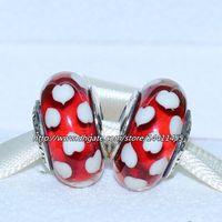 sevgililer kuyumculuk toptan satış-5 adet 925 Ayar Gümüş Iplik Kırmızı Sweethearts Murano Cam Boncuk Avrupa Pandora Takı Charm Bilezikler Kolye Kolye Uyar