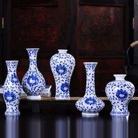 Wholesale Blue White Chinese Porcelain Vases - Vintage Home Decor Ceramic Flower Vases For Homes Antique Traditional Chinese Blue And White Porcelain Vase For Flowers