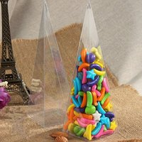 Wholesale Candy Box Pyramids - 5*5*16CM Clear PVC Candy box Transparent Pyramid Chocolate Package Case Gifts For Kids Free shipping ZA5514