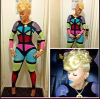 Wholesale Color Block Jumpsuit - Celebrity multi color block bodycon jumpsuit Keyshia Kaoir sexy club party bodysuit pants cosplay catsuit