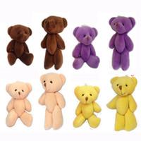 Wholesale Stuffed 12cm Teddy Bears - 12cm Stuffed Mini Teddy bear Crystal Cotton Bear Key Chain Bouquet Flower Package Pendants Dolls Giftable,4color