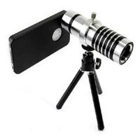 Wholesale Iphone5 Zoom - 2015 hotsale Aluminum 12X Zoom Telescope Lens Camera Tripod For iphone5 5C 6 6S Samsung Galaxy S4 i9500 for samsung galaxy S5 S4 Note 4