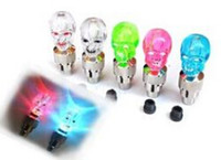 Wholesale Neon Tyres - 3000pcs Skull MIX LED Flash Light Neon Lamp Night Bike Car Tire Tyre Wheel Valve Caps , free ship