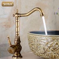 Wholesale Vintage Bathroom Sink Faucets - Wholesale- XOXOHigh quality Retro Vintage Antique Brass Bathroom Sink Basin Faucet Mixer Tap cold   hot water 50031B-1