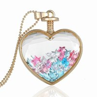 Kreative DIY Herz Locket Halsketten Schmuck Floating Multicolor Kristall Steine ​​Dekoration Charms In Gold Legierung Ball Perlen Ketten LN65