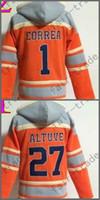 Wholesale Houston Shirts - Houston Hoodie Jersey 1 Carlos Correa Jersey 27 Jose Altuve Shirt Stitched Baseball Pullover Hoodie Sweatshirt