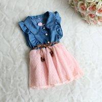 Wholesale Pleated Waistband - Wholesale--Summer Fashion Kids Baby Girls Dresses Short Sleeve Denim Polka Dot Waistband Lace Gauze Bow Dresses C001