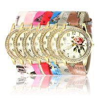 Wholesale Gilded Watch - 2016 New Fashion Chinese Style Peony Pattern Watch Gilt Digital Quartz Casual Leather Clock Women Dress Cartoon Wristwatch Hot