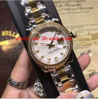 женские наручные часы оптовых-Роскошные часы высокое качество два тона дамы 179383 золото бриллиантовый циферблат/безель 26 мм/31 мм автоматический модный бренд женские часы Наручные часы