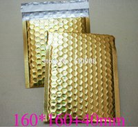 Wholesale Metallic Mailers - Wholesale-16*16cm with 4cm Gold bubble padded envelope,metallic gold color Padded Envelopes Mailers Shipping