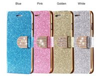 Wholesale Bling Iphone5 Leather Cases - For iPhone5 Case Luxury Glitter Bling Crystal Diamond PU Leather Wallet Case For Apple iPhone 5s With Card Slots Cover