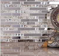 telha de material venda por atacado-Telhas de mosaico de vidro de cristal sala de estar telhas TV fundo adesivos de parede Materiais de Construção