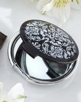 ingrosso elegante specchio bianco nero-Spedizione gratuita 100 pezzi / lotto Omaggi per eventi e feste Damasco Elegante Nero Bianco Specchio per bomboniere