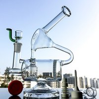 Wholesale Barrel Glasses - Unique Barrel Perc Glass Bong Honeycomb Perc Recycler Oil Rig 9 Inch Water Pipes Clear Bongs 14.5mm Female Joint Dab Rigs WP143