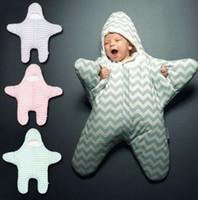 Wholesale nursery clothes online - Baby Sleeping Bags INS Starfish Swaddling Newborn Blankets Stroller Cart Swaddle Toddler Winter Wraps Nursery Bedding Sleep Sack KKA3489