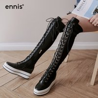 Venta caliente 2017 Lace Up Over The Knee Boots Flat Thick Platform Boots Mujeres Zapatos de cuero genuino Black Knee High Stretch Boots L762