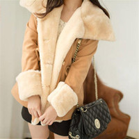 Wholesale Double Breasted Shorts - Free Shipping 2014 winter warm coats women wool slim double breasted wool coat winter jacket women fur women's coat jackets new