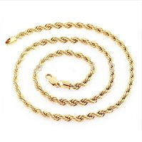 """Wholesale Cuban Link Gold Chains Wholesale - Wholesale-Wholesale Price 24"""" 51g 18K Solid Yellow Gold Filled Plated Mens Cuban Link Rope Necklace Chain Long Necklace Men Jewelry"""