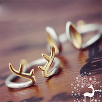 Wholesale Wholesale 18k Pure Gold - New Arrival Cutest Silver Ring 925 Sterling Silver Deer Or Rabbit Ear Shape Pure Silver Adjustable Size Free Shipping