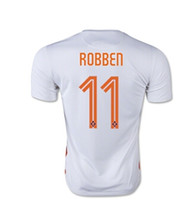 Wholesale Cheap Athletic Shirts - new Thai Quality Customized Netherlands 2015 11# ROBBEN Away Athletic Soccer Jerseys,Sports White Discount Cheap Football Jerseys Shirts Top