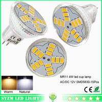Wholesale 12v Ac Bulb Edison Led - mr11 led bulbs smd5630-15pcs glass cup light AC DC 12 volt 4W warm natural Cool white spotlight bright light lamp for indoor lighting