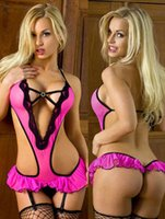 Wholesale Pink Babydoll Lingerie - w1028 Womens Sexy Pink Lingerie Underwear Nightwear Babydoll Monokini