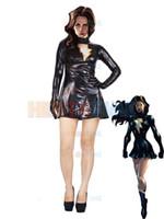 trajes pretos metálicos venda por atacado-A Família Marvel Mary Marvel Preto brilhante Metallic Superhero Costume party costume