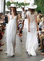 Wholesale Elie Saab Vestidos Novia - Elie Saab Lace Beach Wedding Dresses 2016 Vestidos De Novia A Line Deep V Neck Long Chiffon Bohemian Wedding Gowns
