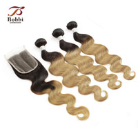 Ombre humano malaio T1b 27 Dark Root <b>Honey Blonde Extensions</b> Body Wave 3 Bundles com laço encerado Parte livre