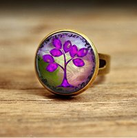 Wholesale Photo Engagement Ring - R15-Purple Tree Necklace Glass Art Picture Pendant Photo Pendant Handcrafted Jewelry