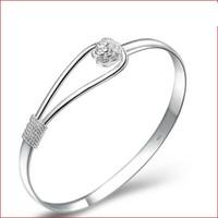 Wholesale Cheap Silver Bracelets For Women - 2015 Bracelets 925 silver plated rose flower cuff bracelet fashion bangle for women jewelry bangles wholesale cheap