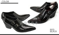 zapatos de borgoña puntiagudos para hombre al por mayor-Zapatos para hombre hechos a mano de negocios de cuero borgoña hebilla cuero genuino del dedo del pie puntiagudo zapatos de vestir de tacón alto Oficina de hombre Oxfords nuevo hombre negro