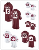 Cheap personalizzato Oklahoma Sooners College Football Jersey 13 A.D. Miller 15 Jeffery Mead 23 Abdul Adams Rosso Bianco cucito Mens Jerseys XS-5XL