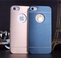 Wholesale Cover Iphone4s - Motomo With hole Brushed Aluminium Metal case Slate Hard Back Case Cover For iPhone4S iphone5S iphone6 6S i6plus