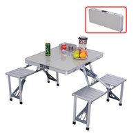 Wholesale Folding Garden Tables - 4 Seats Outdoor Garden Aluminum Portable Folding Camping Picnic Table