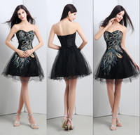 Wholesale Green Peacock Prom Dresses - 2015 Black Peacock Cocktail Dresses In Stock Sweetheart Applique A Line Corset Back Mini Short Prom Dress Organza Homecoming Dresses 2016