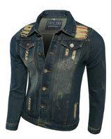 Wholesale Cool Jacket Designs - 2015 Men Cool Slim Jeans Jacket Causal Lapel Neck Long Sleeve Men Jacket Personlise Hole Design Cardigan Jeans For Men J1002