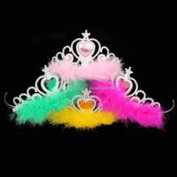 ingrosso bambini di tiara-Corona di film ragazze piuma accessori per capelli imperial bambini corona di strass tiara bambini cosplay incoronazione baby piuma corona 8 colori c3261
