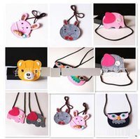 Wholesale Pink Orange Owl - Cartoon kids purse Cute owl bear rabbit wallets Korean Creative Children Head Bag Single Shoulder Bag Cartoon Coin Bag Messenger Bag H032