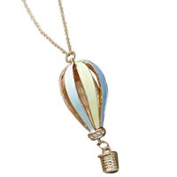 Wholesale Christmas Hot Air Balloon - Vintage Retro Style Fire Hot Air Balloon Colorful Pendant Necklaces With Bow high quality wedding jewelry 24pcs lot free shipping