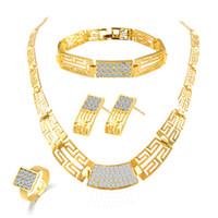 asiatischen indischen goldschmuck großhandel-Brautjungfer Schmuck Set Vintage Halskette Armband Ohrringe Ringe wie indische afrikanische Dubai 18 Karat Gold Schmuck Sets Hochzeit Partei Schmuck Sets