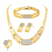 Wholesale Wholesale China Like Plates - Bridesmaid Jewelry Set Vintage Necklace Bracelet Earrings Rings Like Indian African Dubai 18k Gold Jewelry Sets Wedding Party Jewellery Sets