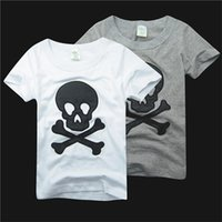 Wholesale Embroidered Shirts Girls - 5pcs Pure Cotton Summer Children Cartoon Tshirt Embroider Beard And Skull Short Sleeve Kid's Boy Girl T Shirt 2-6Year Child Clothing D015