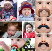 sevimli bebek emzikleri toptan satış-Sıcak satmak Bebek emzik komik Sevimli Diş Bıyık Erkek Bebek Kız Bebek Emzik Ortodontik Kukla Sakal Meme Emzikler güvenli