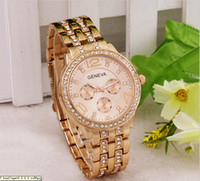 Wholesale Ice Women Watches - 10pcs Luxury Men Women 18K Gold Silver Bling Bling Crystal Watch Fashion Ladies Unisex Iced Diamond Stainless Band Chronograph Wristwatch