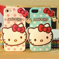 Wholesale Galaxy 4s Case Cover Cute - New arrives 3D Cute Hello Kitty Silicone Soft Case Cover For Iphone 6 4.7 5.5 inch 5 5G 5s 4 4S Samsung Galaxy S3 S4 S5 Note 2 Note 3