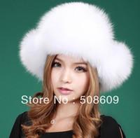 Wholesale Ushanka Men - Wholesale-New Real Fox Fur Hat Trooper Hat Winter Russian Ushanka Women Cap free shipping 1253